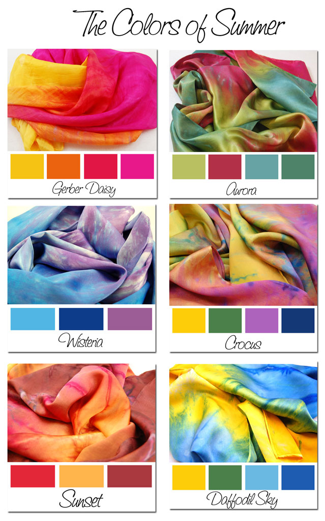 Hand dyed silk scarf, summer colors, bright,
