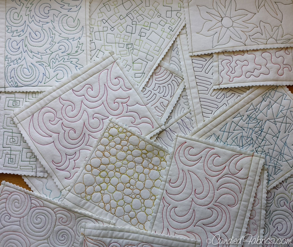 Free motion quilting sampler book candied fabrics for Free motion quilting templates