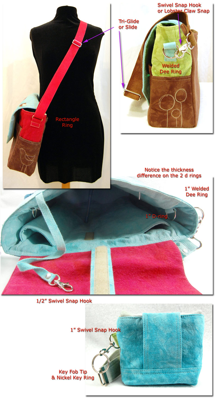 bag making supplies, d ring, tri-glide, slider, swivel snap
