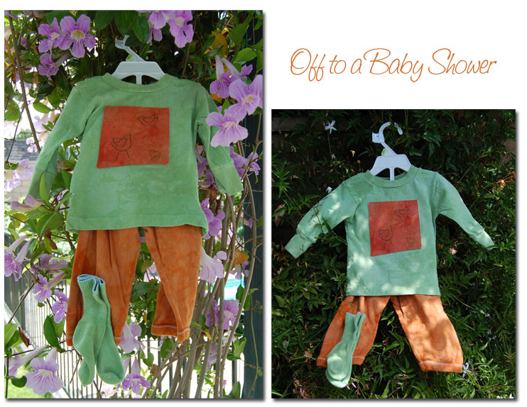 Baby outfit, hand dyed, free motion quilted
