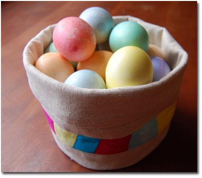 easter eggs in fabric basket