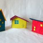 Set of 3 Mod House Ornaments