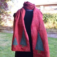 Adventures in Linen – A Scarf with Improvisationally Pieced Trees