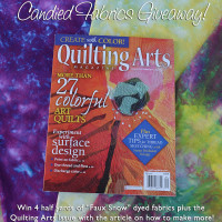 "Giveaway! August/September Quilting Arts Magazine + 4 Half Yards of ""Faux Snow"" Dyed Fabric!"