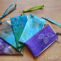 5 more Hand Dyed Cotton Sateen Zip Clutches Complete!