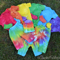 Lots of Baby Clothes Dyed in Bright Colors