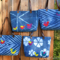 4 More Indigo Leather Handled Linen Totes