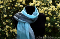 Custom Hand Dyed Scarf in Turquoise and Grey