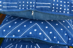 New Indigo Dyed Pillows, with Glue Resist Patterns Inspired by African Mud Cloth Designs