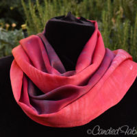 Custom Hand Dyed Silk Scarf in Shades of Red
