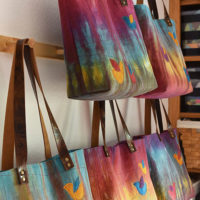 Four New Leather Handle Linen Totes!