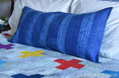 Tadah! New Indigo Dyed Bolster Pillow for My Bed!