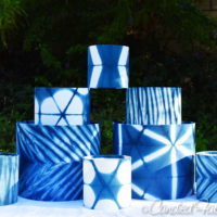 8 Indigo Shibori Lampshades Ready to be Turned into Lamps!!