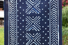 Commission | 2 Pieces of Indigo Dyed Fabric with Mudcloth Inspired Designs