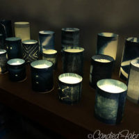 Shibori Shade LED Votive Candle Sleeves